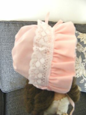 Pink Bonnet W/Lace For A Lee Middleton Or Other Modern Doll
