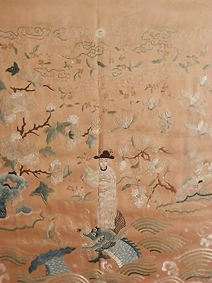OLD ANTIQUE CHINESE Fine Art 19th Century Silk Embroidery Needlepoint Artwork $$