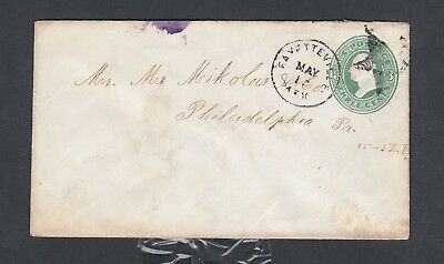 USA circa 1890 PS COVER FANCY STAR CANCEL FAYETTEVILLE ARKANSAS TO PHILADELPHIA