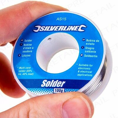 SILVERLINE QUALITY 100g REEL OF 60:40 TIN LEAD SOLDERING WIRE Electrician/Hobby