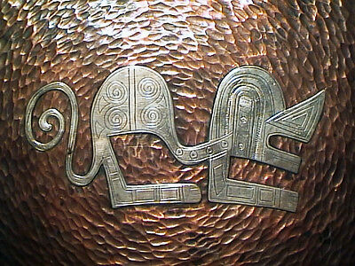Rare Antique Pre Columbian Peruvian Inca Monkey Petroglyph Silver+Copper Charger