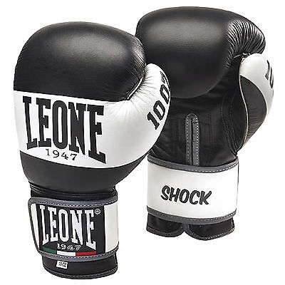 Leone Shock Unisex Adults Leather Sparring Training Boxing Gloves - Black
