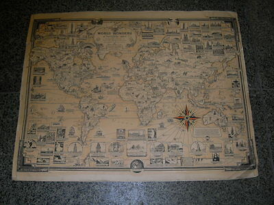 ANTIQUE PICTORAL MAP OF WORLD WONDERS BY ERNEST DUDLEY CHASE 1939 Very Rare