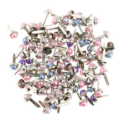 200x Mixed Color Pearl Head Metal Brad Paper Fastener for Scrapbooking Card