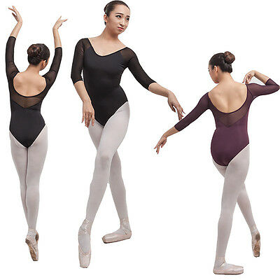 New Womens Black Purple Lycra Elastic Mesh Elbow Sleeve Ballet Dance Leotard