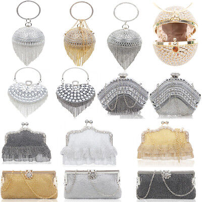 Women's Diamante Sparkly Crystal Ring Evening Bag For Wedding Prom Bridal Night