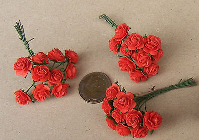 1:12 Scale 3 Bunches (30 Flowers) Of Red Paper Roses Dolls House Miniature B