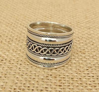 925 Sterling Silver Bali design Wide Band Ring Jewellery