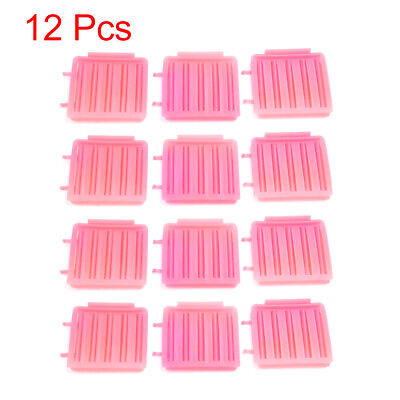12 Pcs Pink Plastic Hairdressing Home DIY Styling Wavy Curly Curler Clip Tools