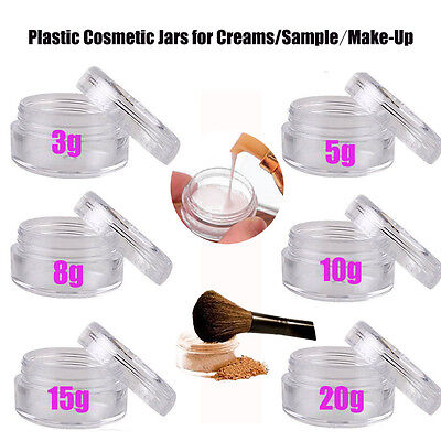 Empty Plastic Cosmetic Jars With Clear Lids For Cream/Sample/Makeup Storage Lot