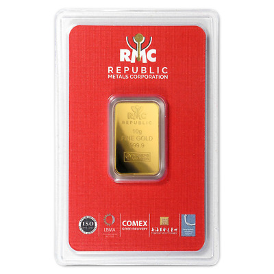 Daily Deal - 10 Gram RMC Republic Metals .9999 Fine Gold Bar In Assay