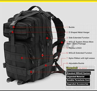 Large 45L 30L Molle Military Army Bag Tactical Rucksack Backpack Camping Hiking