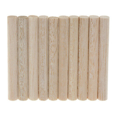 10pcs Natural Balsa Wood Unfinished Wood Craft Round Sticks Dowel Rod DIY