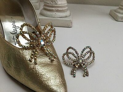 Authentic Vintage Art Deco Tiara Crown Bow Pair Rhinestone Shoe Clips By MUSI