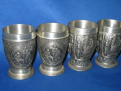 4 SKS(2) Antique German Embossed & Engraved Solid Pewter Shooters Pretty Scenes