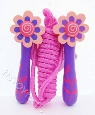 Girls Pink Wooden skipping Rope Toy Choice of design Flower Heart Butterfly New