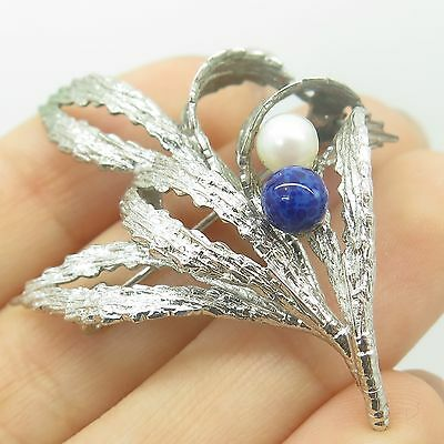 Vtg Germany 925 Sterling Silver Real Pearl Gemstone Floral Pin Brooch