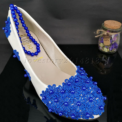 Fashion Blue lace Pearls Wedding shoes Bridal shoes flats/low/High-heeled shoes
