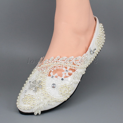 White / ivory pearls lace crystal Wedding shoes flat ballet Bridal size 5-10