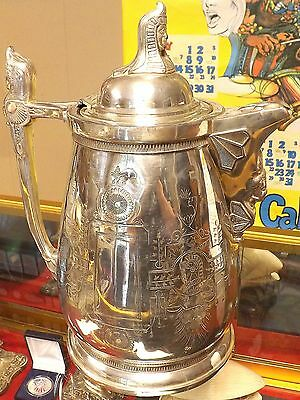 C.1870 Ornate Egyptian Revival Silver Plated Ice Water Pitcher ~Very Nice Piece~