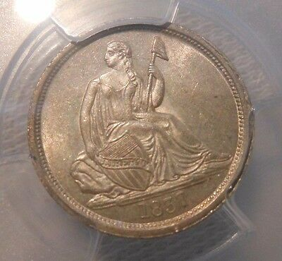 1837 Seated Liberty Dime 10C  No Stars Large Date  PCGS MS 62