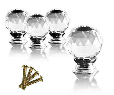 4pcs Crystal Glass Clear Cut Door Knobs Pull 30mm Cabinet Kitchen Handle Set US
