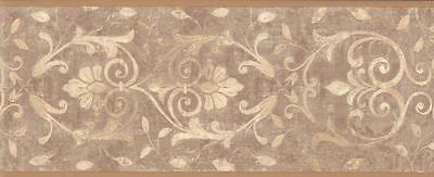 Wallpaper Border Tuscan Taupe and Beige Leaf Scroll