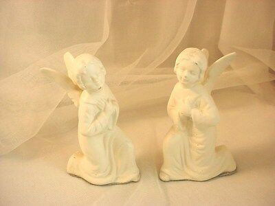 Vtg Shabby Bisque Angel Figurine Lot of 2 Ivory 4 inch