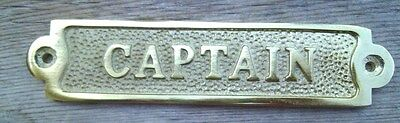 Brass CAPTAIN Sign Plaque Nautical Ship Boat Decor NEW