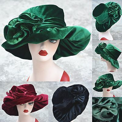 Womens Royal Ascot Ladies' Day Formal Church Wedding Velvet Floral Hat A389