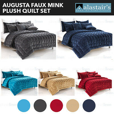AUGUSTA Faux Mink Comforter Coverlet Quilt Set Single Double Queen King Size