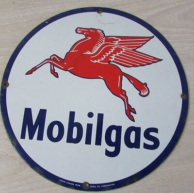 """Mobilega Mobil Gas Porcelain sign gas and oil advertising Red Horse Pegasus 12"""""""