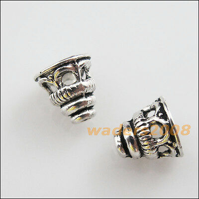 30 New Charms Tibetan Silver Tone Tiny Hollow Cone End Bead Caps 7.5mm