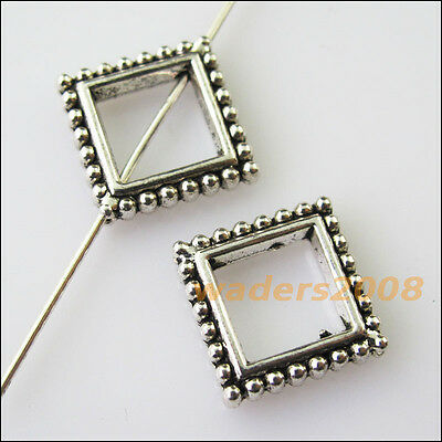 8 New Square Circle Frame Charms Tibetan Silver Tone Spacer Beads 13mm