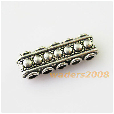 8 New 5-5Holes Bars Connectors Charms Tibetan Silver Tone Spacer Beads 8.5x23mm