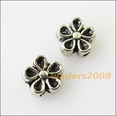 30 New Tiny Flower Star Charms Tibetan Silver Tone Spacer Beads 7mm