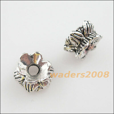 15 New Charms Tibetan Silver Tone Flower Spacer Beads End Caps 8.5mm / 9.5mm