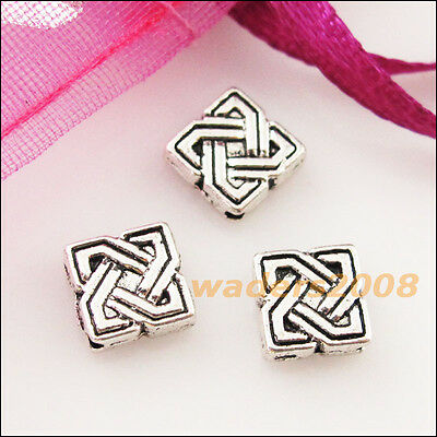 25 New Charms Square Chinese Knot Spacer Frame Beads 7mm Tibetan Silver