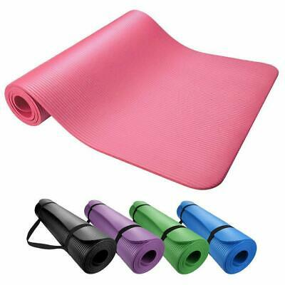 "Yoga & Exercise Mat Thick Non-Slip Shock Absorbing Pad Workout 72""x24"" x 10mm"