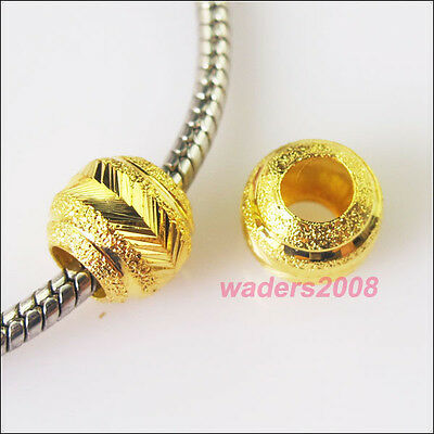 8 New Charm Gold Plated Round 5mm Hole Beads fit European Bracelet 10mm