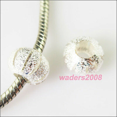 8 Charm Silver Plated Round 5mm Hole Beads fit European Bracelet 11.5mm