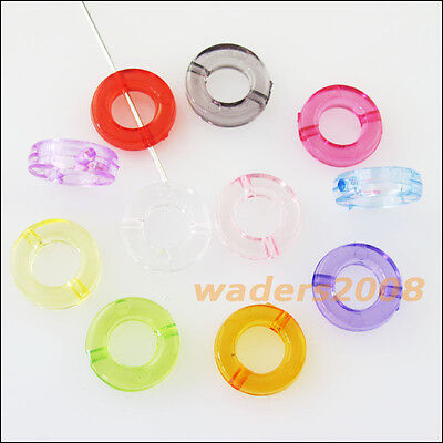 60 New Charms Plastic Acrylic Clear Round Circle Spacer Beads Frame Mixed 12mm