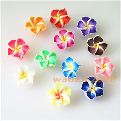 12 New Charms Handmade Polymer Fimo Clay Flower Spacer Beads Mixed 15mm