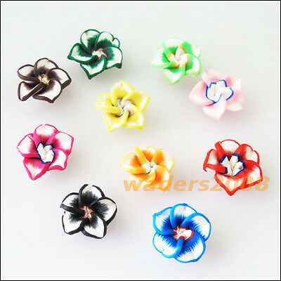 15 New Charms Handmade Polymer Fimo Clay Flower Spacer Beads Mixed 12mm