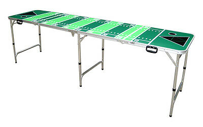 Official Size 8' Foot Folding Beer Pong 4 Section Table American Football Design
