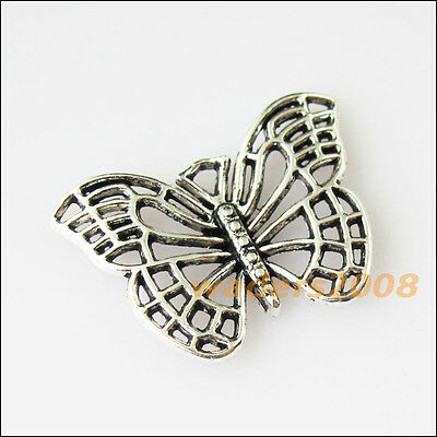 10 New Hollow Animal Butterfly Tibetan Silver Tone Charms Pendants 18x25mm