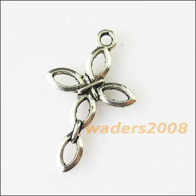 18 New Flower Chinese Knot Tibetan Silver Tone Charms Pendants 13x17.5mm