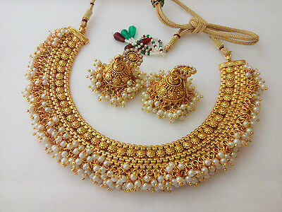 Indian Fashion Jewelry Antique Necklace Set Ethnic Gold Plated Traditional set