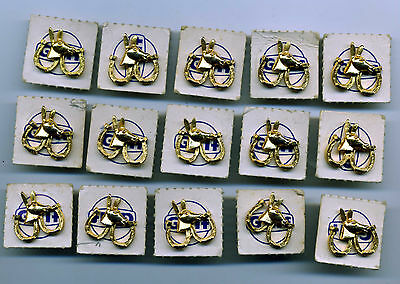 1968 Gulf Gas station Promo Democrat Gold Tone Pin Lot (15) Political Election