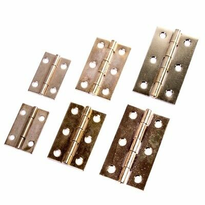 """2 x BRASS BUTT HINGES 1.5""""/2""""/2.5"""" Small-Large Cupboard Cabinet Door Doll House"""